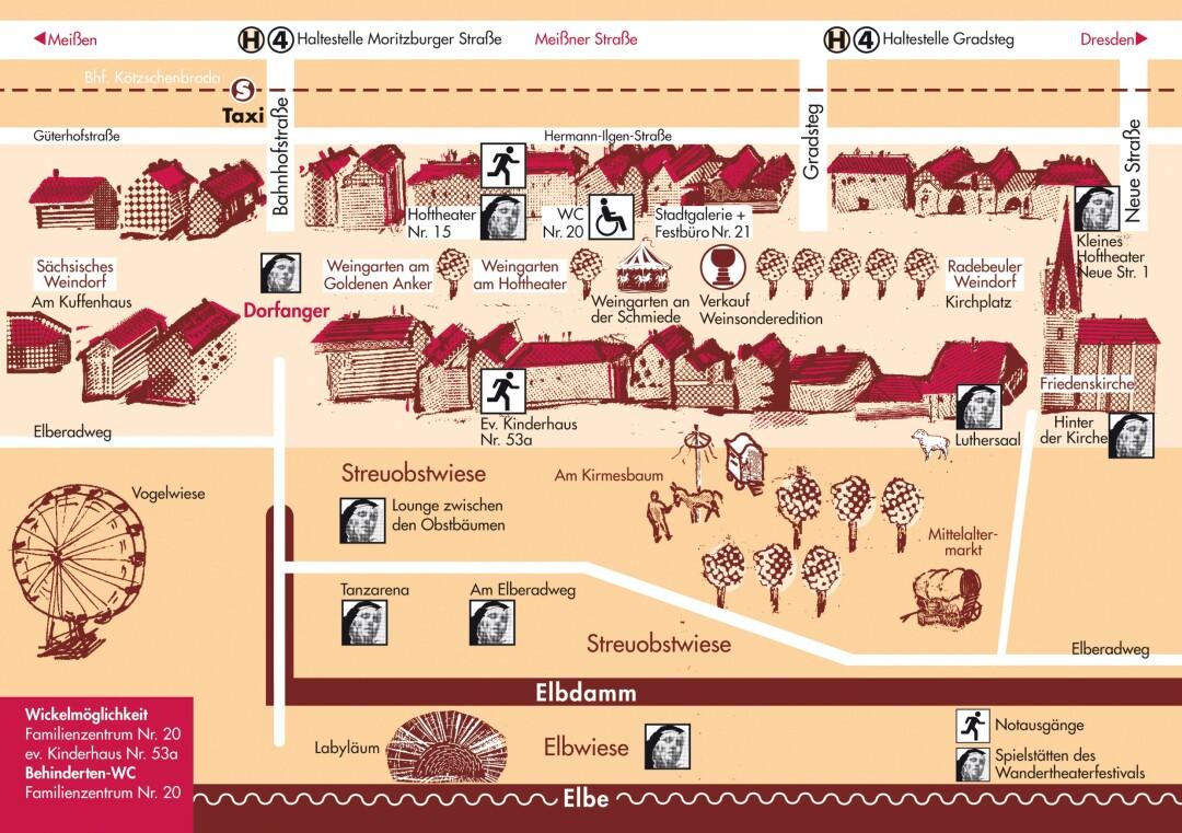 Plánek festivalového areálu - Slavnosti vína a festival kočovných divadel v Radebeulu